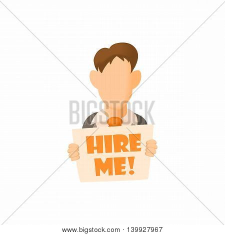 Male avatar with sign Hire me icon in cartoon style isolated on white background. Search job symbol