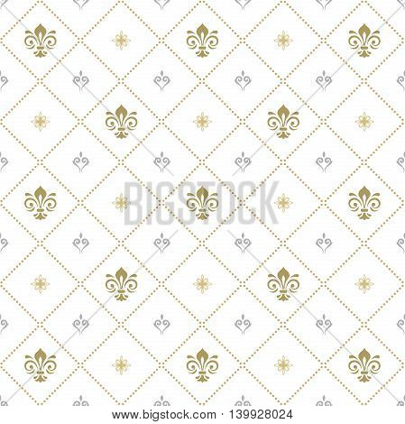 Seamless ornament. Modern geometric pattern with golden royal lilies