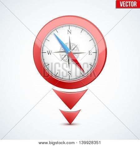 Pointer target for maps. With compass on display. For web or applications. Vector Illustration isolated on white background.