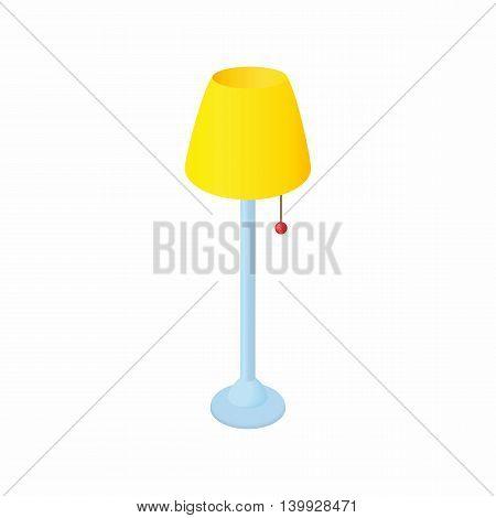 Long floor lamp icon in cartoon style isolated on white background. Illumination symbol