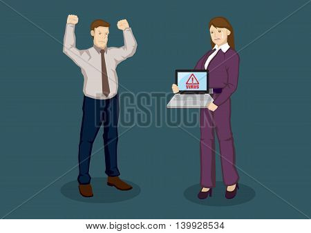 Employer angry with upset worker whose laptop is infected by computer virus. Cartoon vector illustration for web security for business concept isolated on green background.