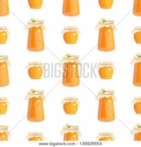 Honey jar seamless pattern with bee sketch vector illustration. Honey jar seamless pattern yellow wallpaper sweet texture food. Hexagon honey jar seamless pattern beehive decoration nature concept.
