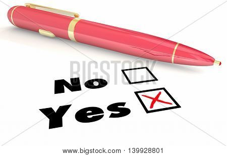 Yes Vs No Answer Choice Pen Check Mark Box 3d Illustration