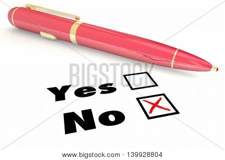 No Answer Vs Yes Negative Denial Rejection Pen Check Box 3d Illustration