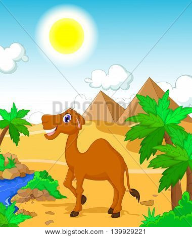funny camel cartoon with desert landscape background
