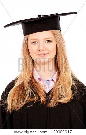 Portrait of a happy graduating student girl. Isolated over white background.