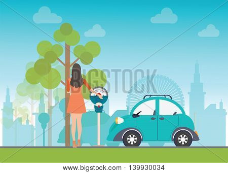 Woman holding a coin for Car park with parking meter on city view background parking lot parking zone conceptual Vector Illustration.