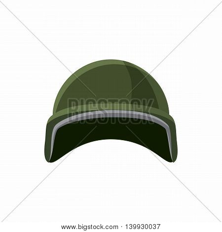 Military helmet icon in cartoon style isolated on white background. Equipment symbol