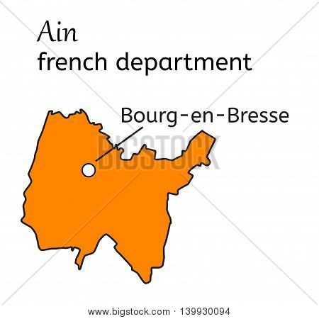 Ain french department map on white background