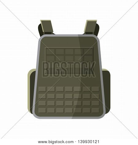 Military backpack icon in cartoon style isolated on white background. Equipment symbol