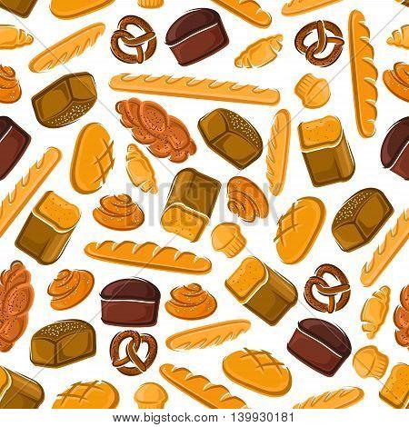 Bakery seamless vector background. Vector bake pattern wallpaper of croissant, bread, baguette, muffin, bun, loaf, pretzel, bagel, pie. Bread elements for patisserie cafe bakery pastry shop