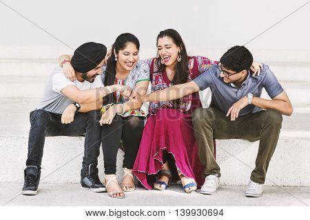 Indian Friends Hangout Happy Concept