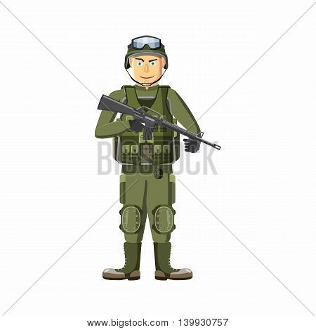 Soldier with weapons icon in cartoon style isolated on white background. People symbol