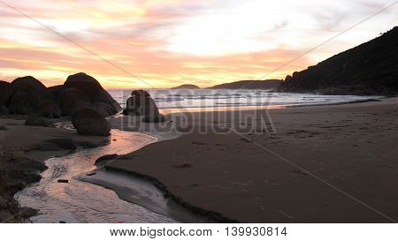Sunset with River and Rocks Australian Coast