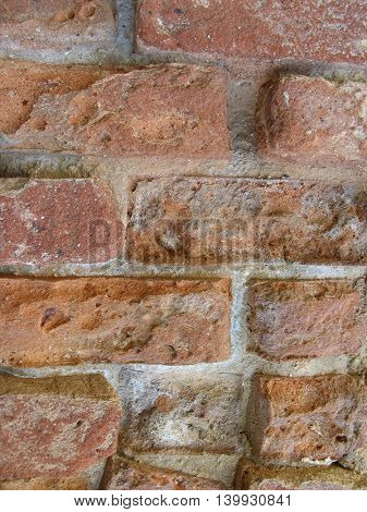 Old orange brick wall on lime kiln Victoria Australia