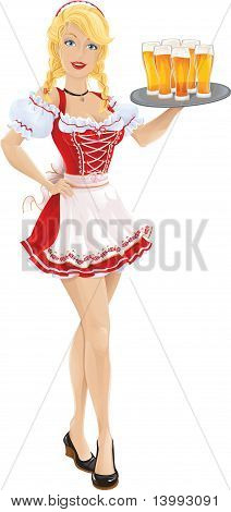 Oktoberfest girl with tray of beer