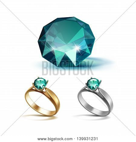 Vector Set of Gold and Siver Engagement Rings with Emerald Shiny Clear Diamond Close up Isolated on White Background