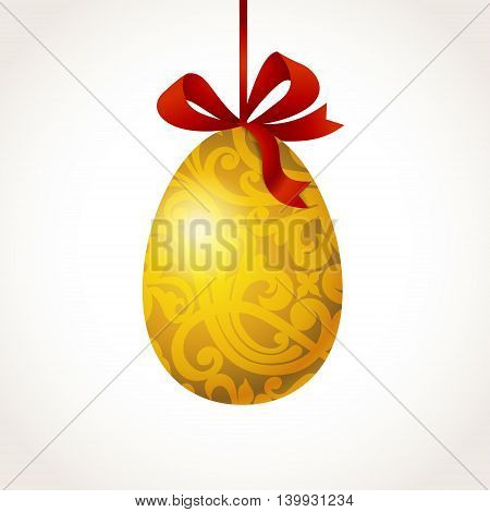 Golden ornamental egg with red ribbons for your Easter design. Spring Easter element. It can be used for decorating of invitations greeting cards decoration for bags clothes and web pages.