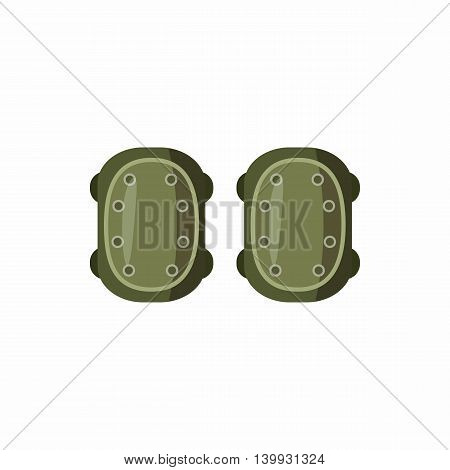 Military knee pads icon in cartoon style isolated on white background. Equipment symbol