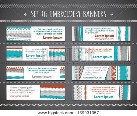 Set Of Horizontal Embroidery Banners.