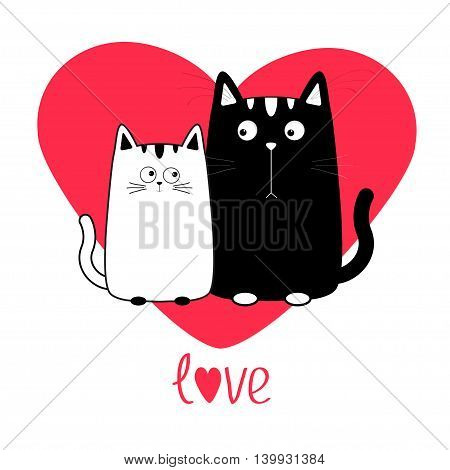 Cute cartoon black white cat boy and girl family. Big red heart. Kitty couple on date. Moustache whisker. Funny character set. Love greeting card. Flat design. Isolated. Vector illustration