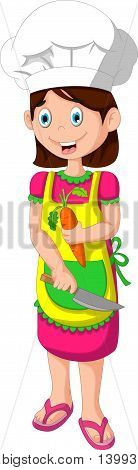 cute mom cartoon cutting carrot for you design