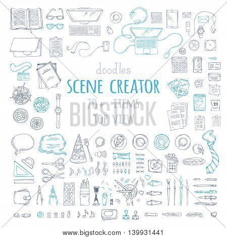 Vector Set Of Doodles Work Place Gadgets And Stationery.