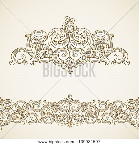Vector seamless border and vignette in Victorian style. Element for design. Ornament endless pattern. It can be used for decorating of wedding invitations greeting cards decoration for bags and clothes.