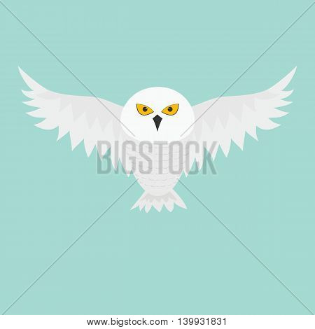 White Snowy owl. Flying bird with big wings. Yellow eyes. Arctic Polar animal collection. Baby education. Flat design. Isolated. Blue sky background. Vector illustration