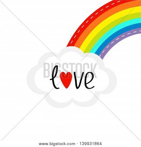 Rainbow on the corner and cloud in the sky. Dash line. Love card. LGBT sign symbol. Flat design. White background. Vector illustration.