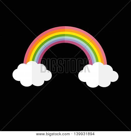 Rainbow and two white clouds. LGBT sign symbol. Flat design. Black background. Vector illustration.