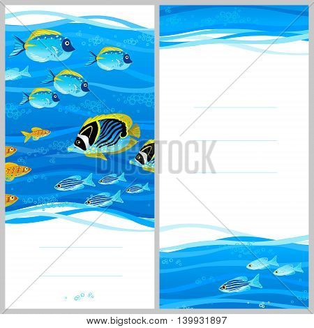 Bright invitation cards with sea elements. Marine life vector background. Sea pattern with fish and waves. Place for your text. Template frame design for card.