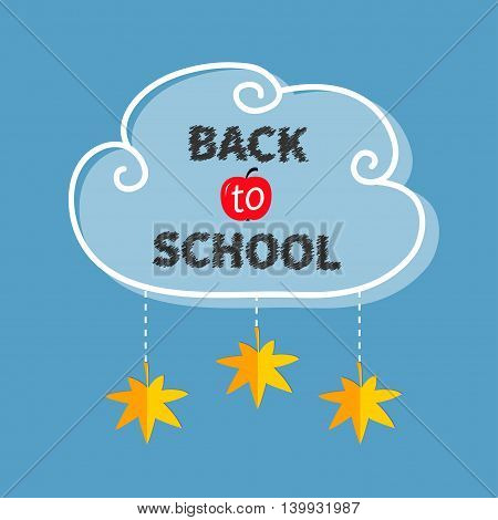 Back to school. White cloud contour frame. Hanging autumn yellow and orange maple leaf. Dash line rope. Flat design. Blue background. Vector illustration