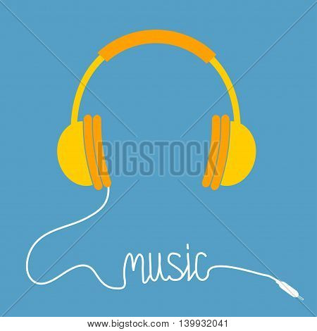 Yellow headphones with white cord in shape of word Music. Card. Flat design icon. Blue background. Vector illustration.