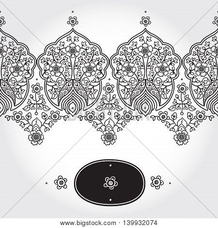 Vintage seamless border with lacy ornament. Floral frieze in east style. It can be used for decorating of wedding invitations greeting cards decoration for bags and clothing.