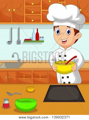 funny chef cartoon bring bowl in the kitchen