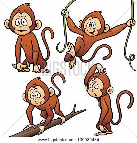 Vector illustration of Cartoon Monkey Character Set