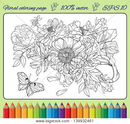 Close-up view of bunch of flowers and a butterfly. Coloring page with frame.