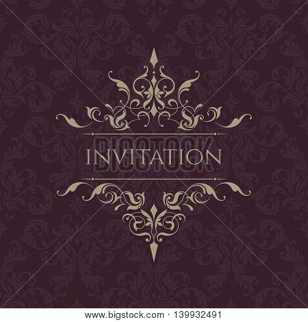 Wedding invitation. Classic border. Decorative frame. Template for greeting cards invitations menus. Graphic design page.