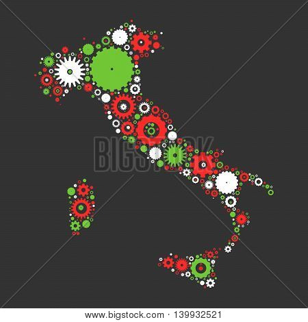 Italy map silhouette mosaic of cogs and gears. Illustration in national colors on dark grey background.