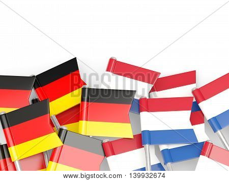 Flags Of Germany And Netherlands  Isolated On White