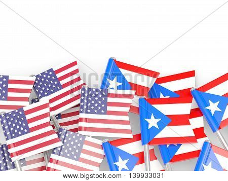 Flags Of Usa And Puerto Rico  Isolated On White