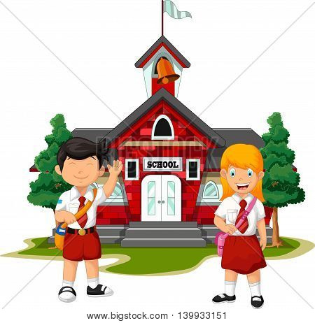 funny two student with school building background