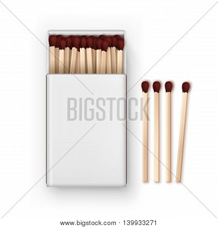 Vector Opened Blank Box Of Red Matches Top View Isolated on White Background