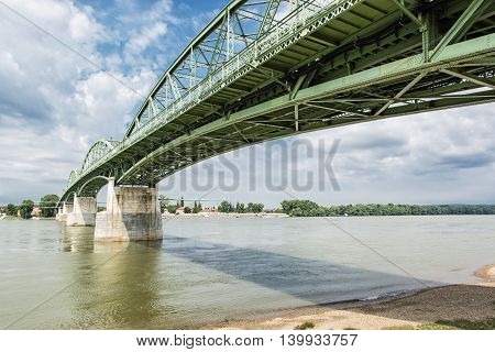Maria Valeria bridge joins Esztergom in Hungary and Sturovo in Slovak republic across the Danube river. Architectural scene. Transportation theme.