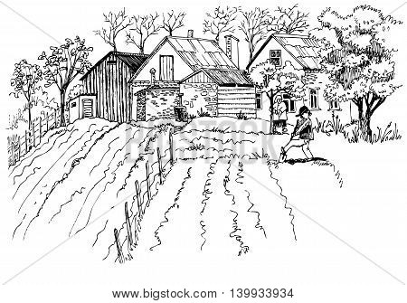 Hand-drawn line black and white rural landscape sketch