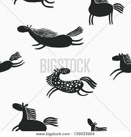 Cute silhuette  vector doodle horses seamless pattern