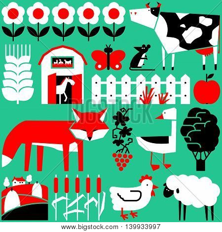 Vector cute flat set with farm objects and animals