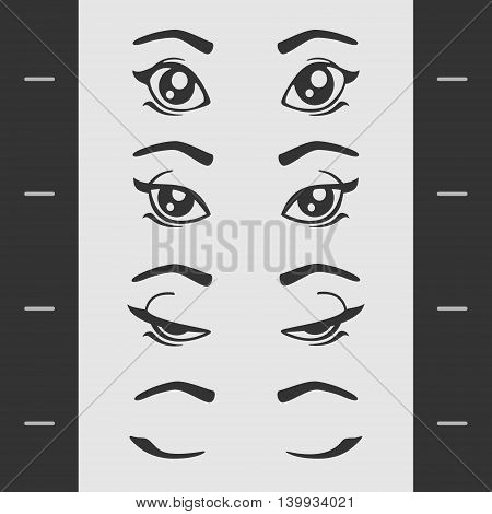 Set Elements of Female Eye Blink eps 8 file format