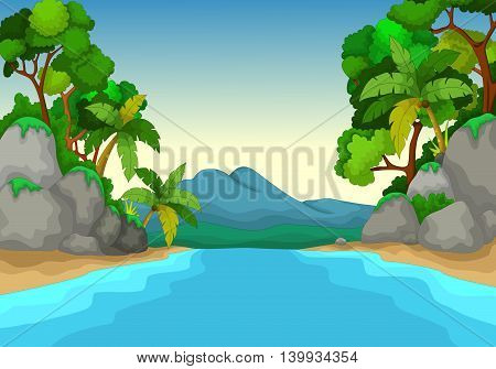 beautiful view of river cartoon with forest landscape background